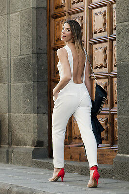 3738b8ed8c9 SOLD OUT RARE ZARA BACKLESS WHITE LONG JUMPSUIT BLOGGERS SIZE M MEDIUM