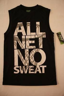 NEW Boys Tank Top Medium 8 - 10 Silky Black Muscle Shirt Basketball All Net - Black Muscle Boys