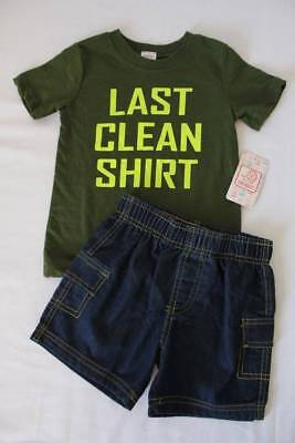 NEW Baby Boys 2 Piece Set Size 24 Mo Outfit Last Clean T Shirt Shorts Funny Joke