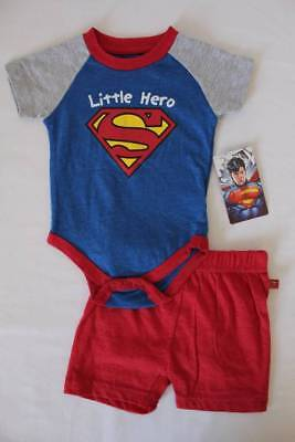 NEW Baby Boys 2 Piece Set 6 - 9 Months Superman Bodysuit Shorts Outfit Superhero (Boys Superman Outfit)