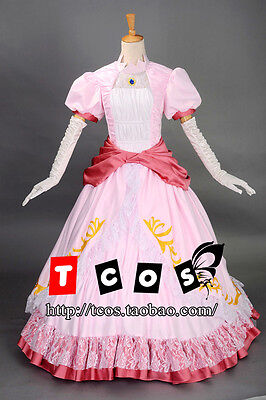 Super Mario Princess Peach Adult Costume Bros and Luigi Cosplay Pink Dress Gown](Mario And Peach Costumes)