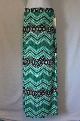 NEW Womens Maxi Skirt Plus Size 3X Green Chevron Navajo Print Long Stretch Soft