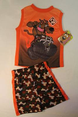 - NEW Boys 2 pc Set 12 Month Mesh Tank Top Shirt Camo Shorts Scooby Doo Dog Outfit