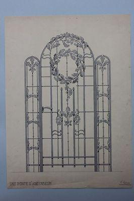 Schmiedeeiserne Tür, lavierte Tusche, um 1900 , signiert L.Ledru