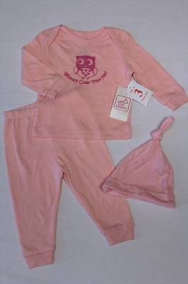 Owl Baby (NEW Baby Girls 3 Pc Layette Set 6 - 9 Months Top Shirt Pants Hat Outfit Owl)