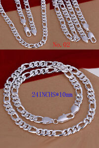 New 925% Sterling Silver Chain Necklace Link Men Women Wholesale Italian Gift