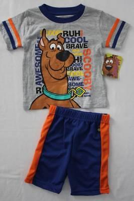 NEW Baby Boys 2 pc Set Size 24 Mos Scooby Doo Dog Gray T-Shirt Blue Mesh Shorts