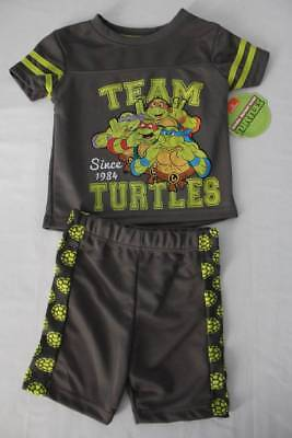 NEW Toddler Boys 2pc Set 2T Mutant Ninja Turtles Mesh T-Shirt Shorts Outfit TMNT ()