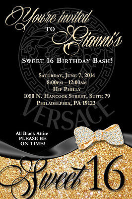 Personalized SWEET 16 VERSACE Birthday - Personalized Sweet 16 Invitations