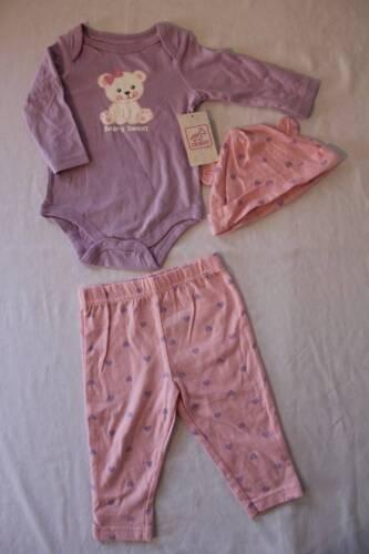 NEW Baby Girls 3 Piece Set 3 - 6 Months Bodysuit Pants Hat O