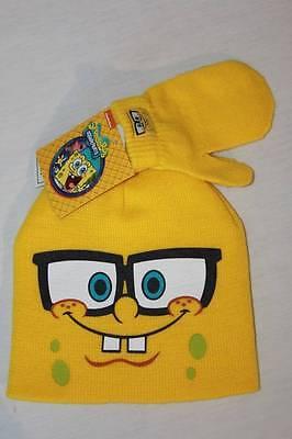 NEW Toddler Beanie Hat Mittens 2 Pc Set Yellow SpongeBob Acrylic Knit Cap Unisex](Toddler Yellow Hat)
