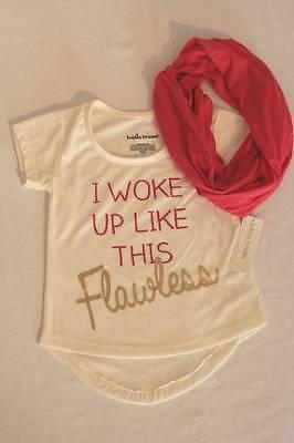- NEW Girls Top Medium 7 - 8 Ivory Hi-Low Shirt Pink Infinity Scarf Woke Flawless