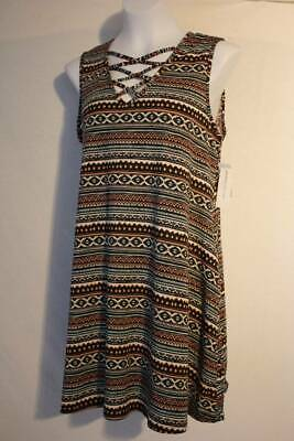 Plus Size Tribal Dress (Womens Sleeveless A-Line Dress Plus Size 2X Above Knee Caged Front Tribal)