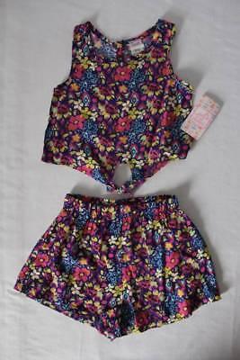 NEW Girls 2 Piece Set Size 12 Months Tank Top Shirt Shorts Outfit Blue Floral