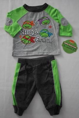 NEW Boys 2 pc Outfit Size 0 - 3 Mos Shirt Pants Set Teenage Mutant Ninja Turtles