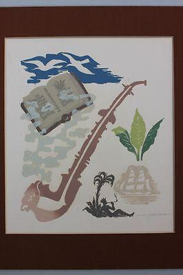 Paul Hertzog - Pfeife Tabak Indianer - farbiger Linolschnitt