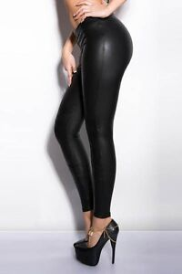 Sexy Womens Black PVC Leather Vinyl Style Look Leggings Pants Stretch C321