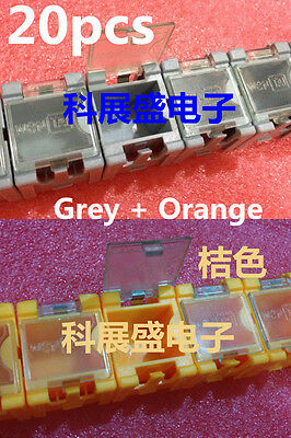 20pcs Grey Orange Smt Smd Kit Laboratory Chip Components Parts Storage Box Case