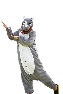 WOTOGOLD Polar Fleece Rhinoceros One-piece Pajama Adult Animal Cosplay Costume  - Rhino Costume
