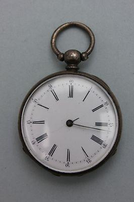Silberne Taschenuhr mit Schlüsselaufzug , 19.Jahrhundert