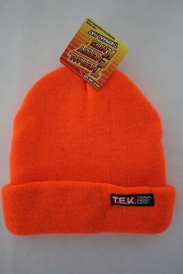 Mens Thermal Knit Hat Beanie Thick Warm Insulated Orange Winter Cuffed Cap Hunt Hunter Knit Hat
