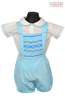Baby Junge Hand Smocks Prinz George Hemd/Shorts Set Traditionell Romany Outfit (Baby Prinz Outfit)