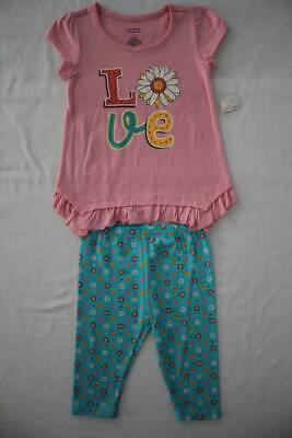 NEW Toddler Girls 2 piece Outfit Size 4T Pink Top Blue Floral Pants Set Love