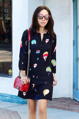 Kate Spade Navy (almost black) Brie Balloon Print Dress sz 00