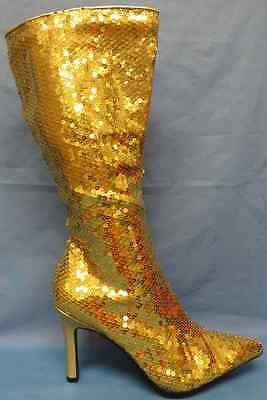 Lust Sequin Boots Gold 70's Disco Go Go Fancy Dress Halloween Costume Accessory