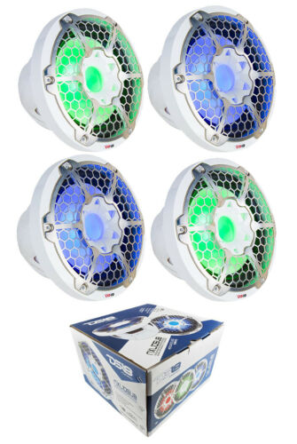 "4x Marine Subwoofers 10"" White Power Sport RGB LED DS18 Hydr"