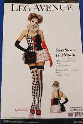 Sweetheart Harlequin Clown Mime Fancy Dress Up Halloween Sexy Adult Costume