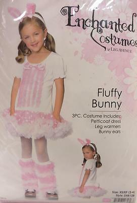 Fluffy Bunny Rabbit Girl Pink White Animal Fancy Dress Halloween Child Costume (Fluffy Bunny Halloween Costume)