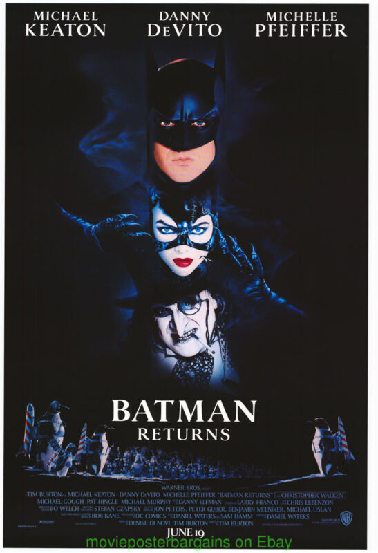 BATMAN RETURNS MOVIE POSTER Original SS 27x40 RAREstyle With Date MICHAEL KEATON