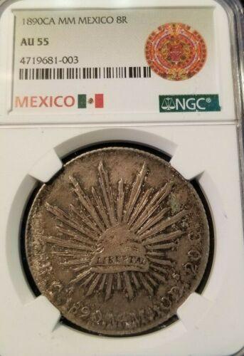 1890 CA MM MEXICO 8 REALES NGC AU 55 HIGH GRADE BEAUTIFUL TONING CHIHUAHUA