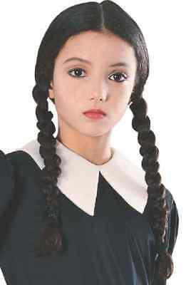 Wednesday Addams Wig Black Pigtails Dress Up Halloween Child Costume Accessory