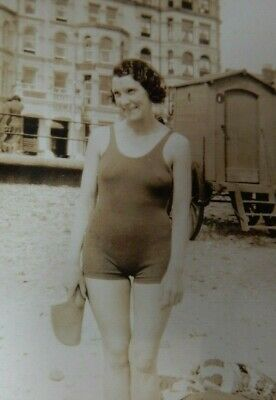 PHOTOGRAPHIC  PORTRAIT ART DECO BATHING COSTUME  SCARBOROUGH BRIDLINGTON  WHERE