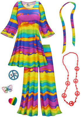 Halloween 9 Ending (End Of the Rainbow PLUS SIZE Hippie 2pc set + Halloween Costume Lg to)
