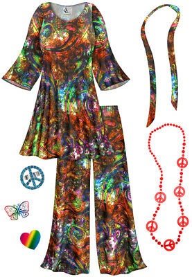 Rainbow Paisley PLUS SIZE Hippie 2pc set + Halloween Costume Lg to 9x