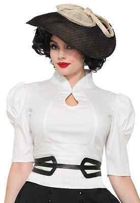 Gathered Shirt White 40's Retro Fancy Dress Up Halloween Adult Costume - 40s Halloween Costumes