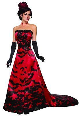 Vampire Queen Gothic Red Black Vampiress Fancy Dress Halloween Adult Costume