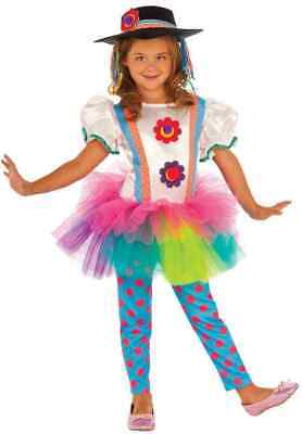 Colorful Clown Girl Circus Carnival Fancy Dress Halloween Toddler Costume XS 2-4