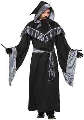Mystic Sorcerer Warlock Gothic Wizard Evil Fancy Dress Halloween Adult Costume - Mens Warlock Costume