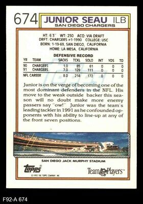 1992 Topps 674 Junior Seau Chargers USC 8 - NM/MT - $1.95