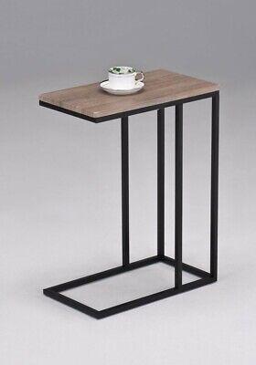 Sofa Snack Table Furniture End Modern Accent Side Black Metal Slide Under Wood  ()