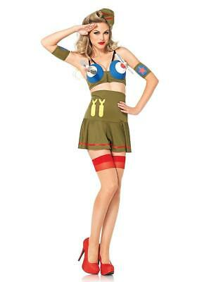 40s Pin Up Girl Costumes Halloween (Bomber Girl Retro 40's Pinup Military Fancy Dress Halloween Sexy Adult)