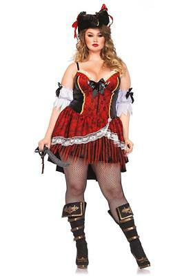 Curvy Pirate Caribbean Wench Fancy Dress Halloween Plus Size Sexy Adult Costume - Busty Halloween Costumes