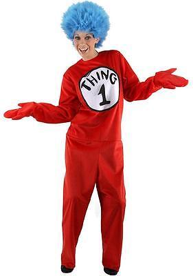 Dr. Seuss Fancy Dress Up Halloween Deluxe Adult Costume (Dr. Seuss Thing 1 Halloween-kostüm)