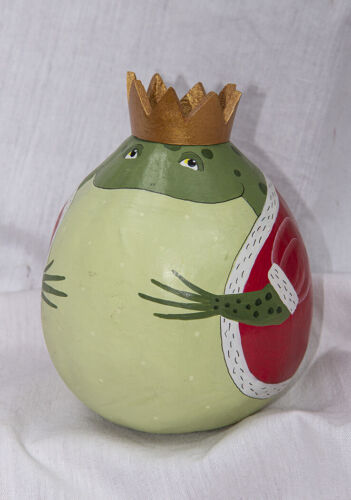 "Hand Painted 5"" Green Frog Prince on Gourd Figure EX+"