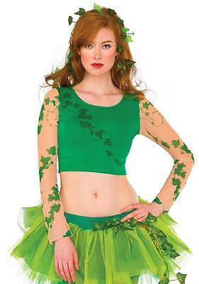 Poison Ivy Crop Top DC Comics Fancy Dress Up Halloween Adult Costume Accessory