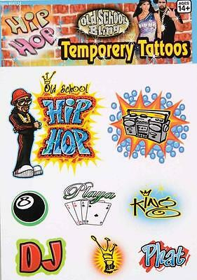 Old School Hip Hop Tattoos 80's Retro Fancy Dress Halloween Costume Accessory - 80 Hip Hop Clothes